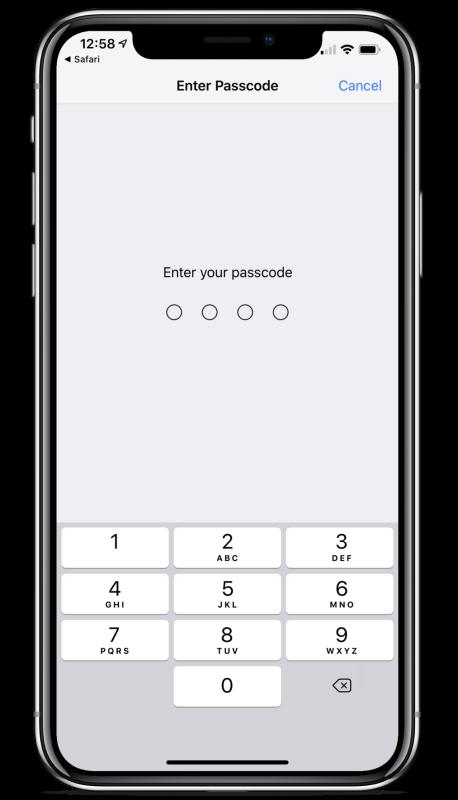 iphone x passcode screen