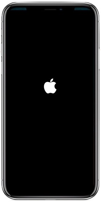 iphone x black screen apple logo