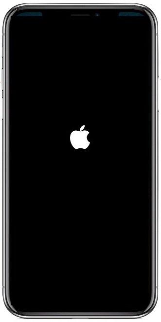 iphone x black screen apple logo