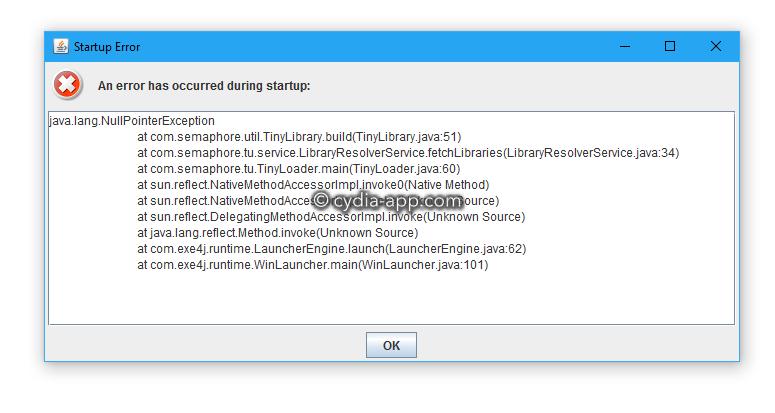 java.lang.error tinyumbrella app