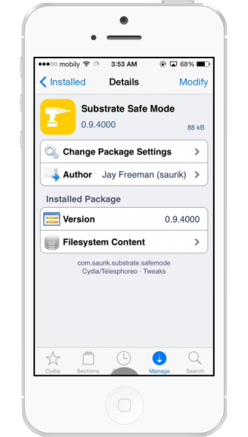 fix iphone boot after installing unsupported cydia ios 8 app