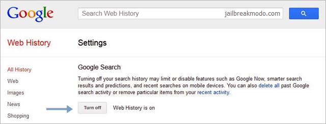 googl web histórico de pesquisa apagar