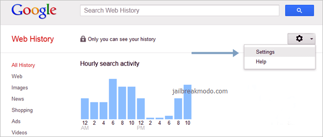 googl web histórico de pesquisas