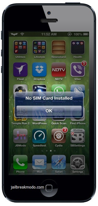 iphone 5 no sim card installed