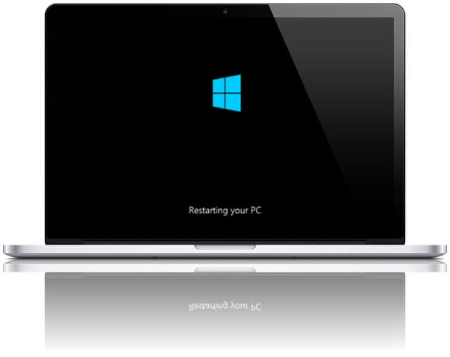 windows 8 reboot restart start screen mac book pro