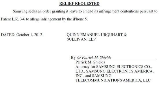 Samsung iPhone 5 patent infringement claim apple
