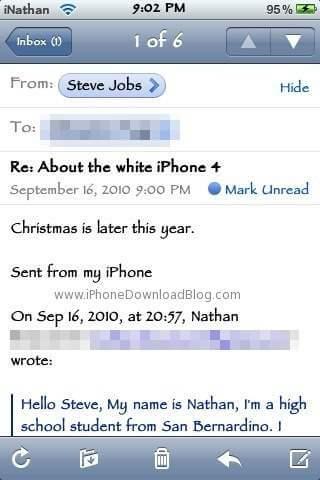 White iPhone 4 Steve Jobs Email