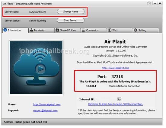 airplayit mainscreen streaming setup