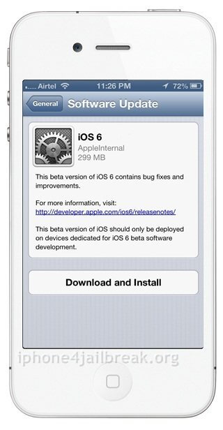 download ios 6 OTA - over the air update