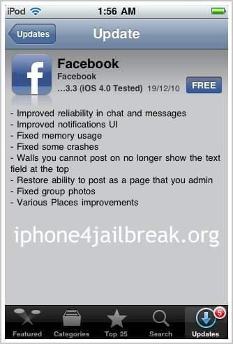 facebook iphone 4