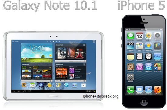galaxy note 10.1 vs iphone 5