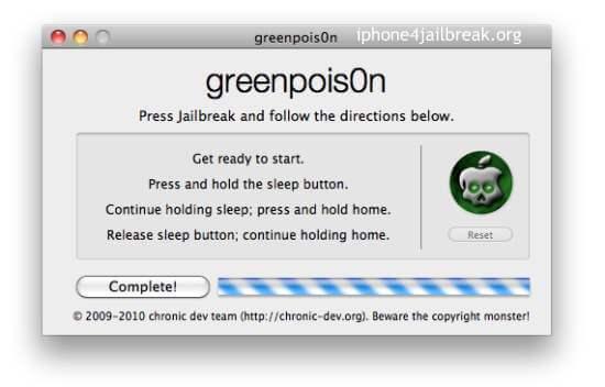 greenpois0n Mac Jailbreak ios4