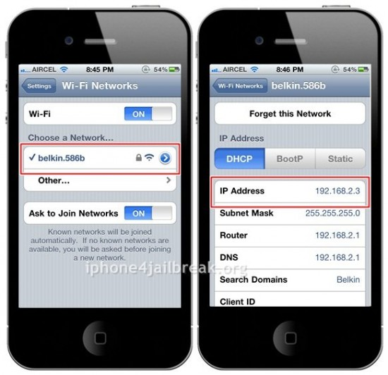 iphone 4 ip address