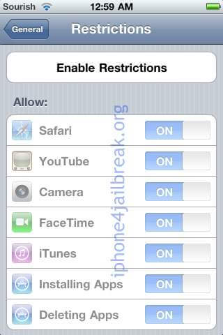 iphone 4 restrictions menu