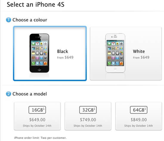 iphone 4s price