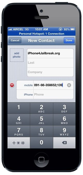 iphone 5 extension dialer
