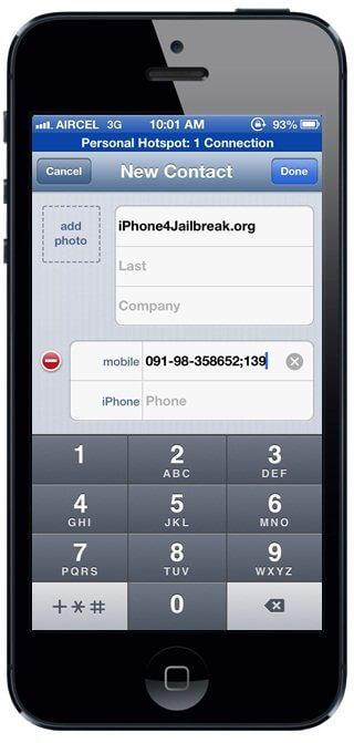 iphone 5 extension dialer