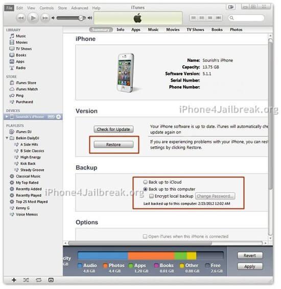 itunes iphone 4s restore backup