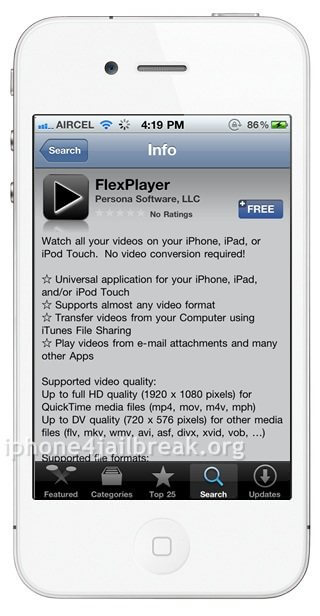 media player iphone 4 flexplayer