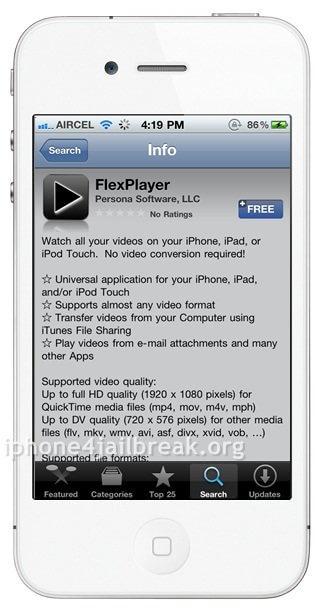 media player iphone 4 flexplayer