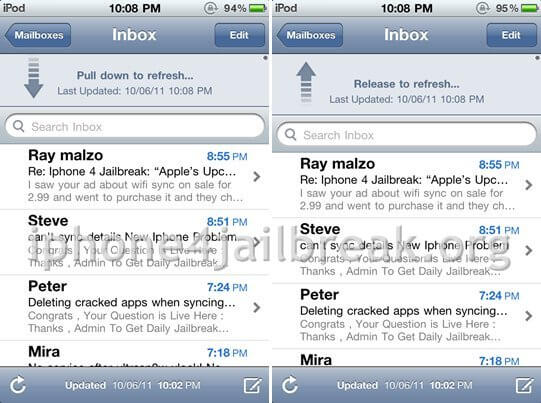 pull to refresh jailbreak app iphone 4