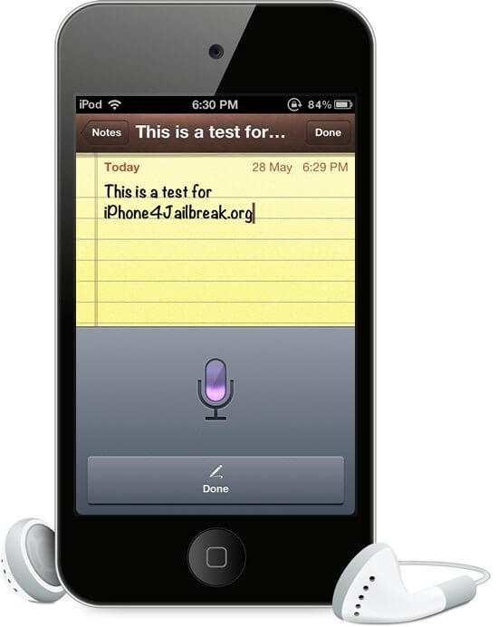 siri dictation on ipod touch 4