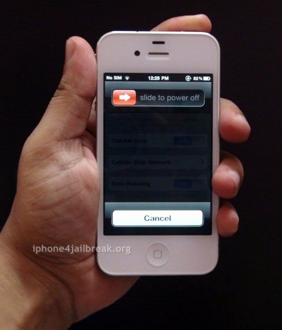 slide to power off iphone 4 white turn off
