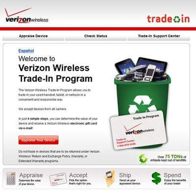 verizon iphone trade in page