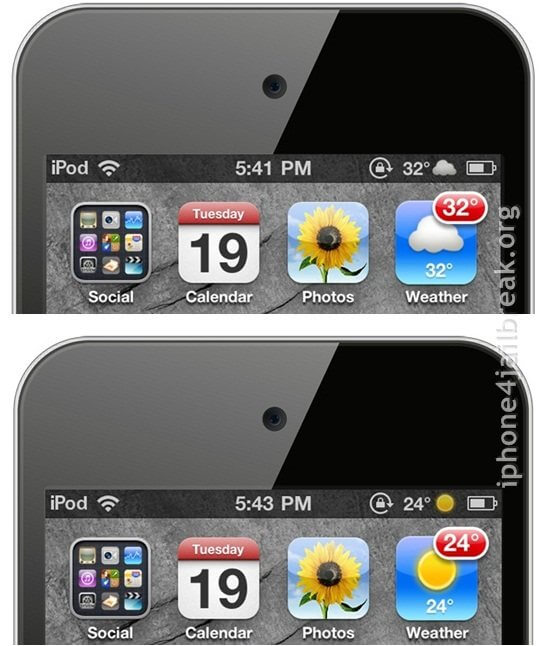 weather display iphone 4